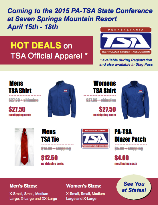 TSA official apparel will be available at discounted prices during the state conference, including men's and women's shirts, ties, and blazer patches.