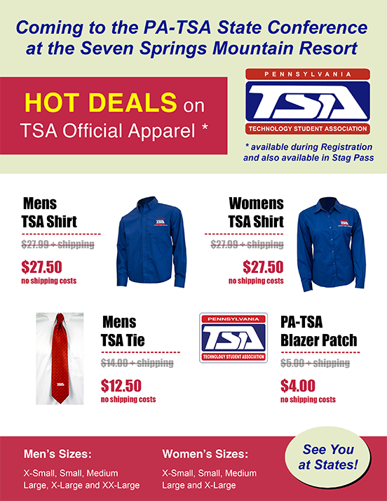 Coming to the PA-TSA State Conference at the Seven Springs Mountain Resort: Hot deals on TSA official apparel and other products
